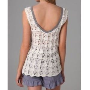 We The Free Crochet Back Jersey Gray Tank Top
